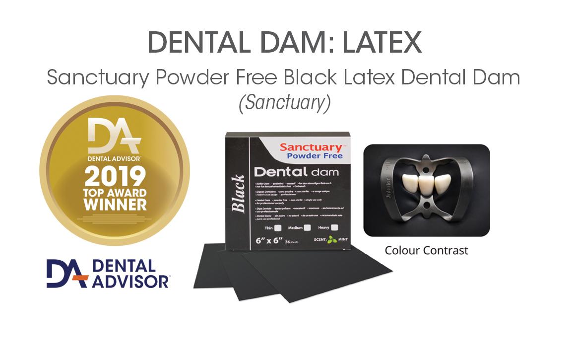 Sanctuary Powder Free Black Latex Dental Dam